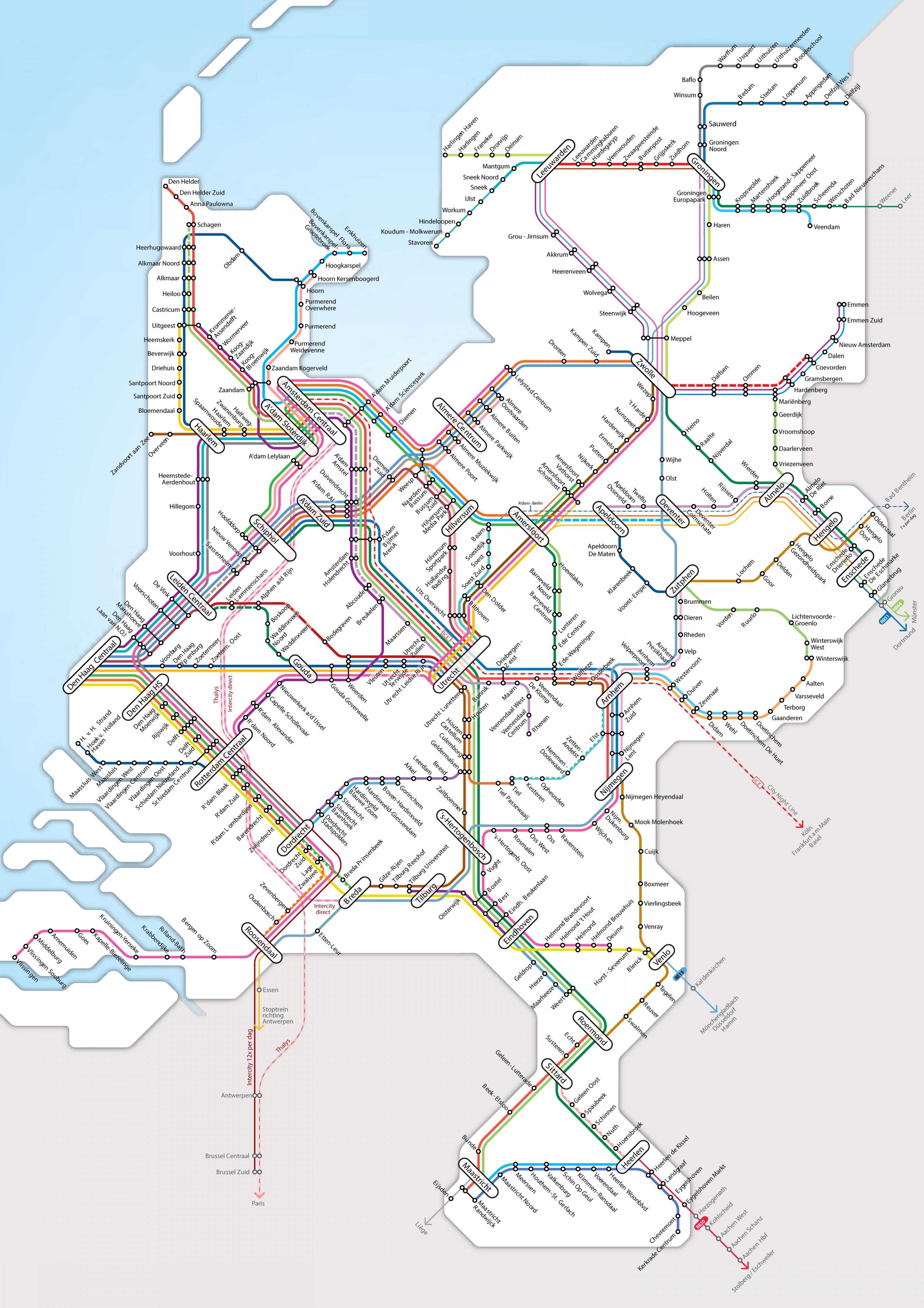Olanda Rail Harta Olanda Rail Harta Europa De Vest Europa