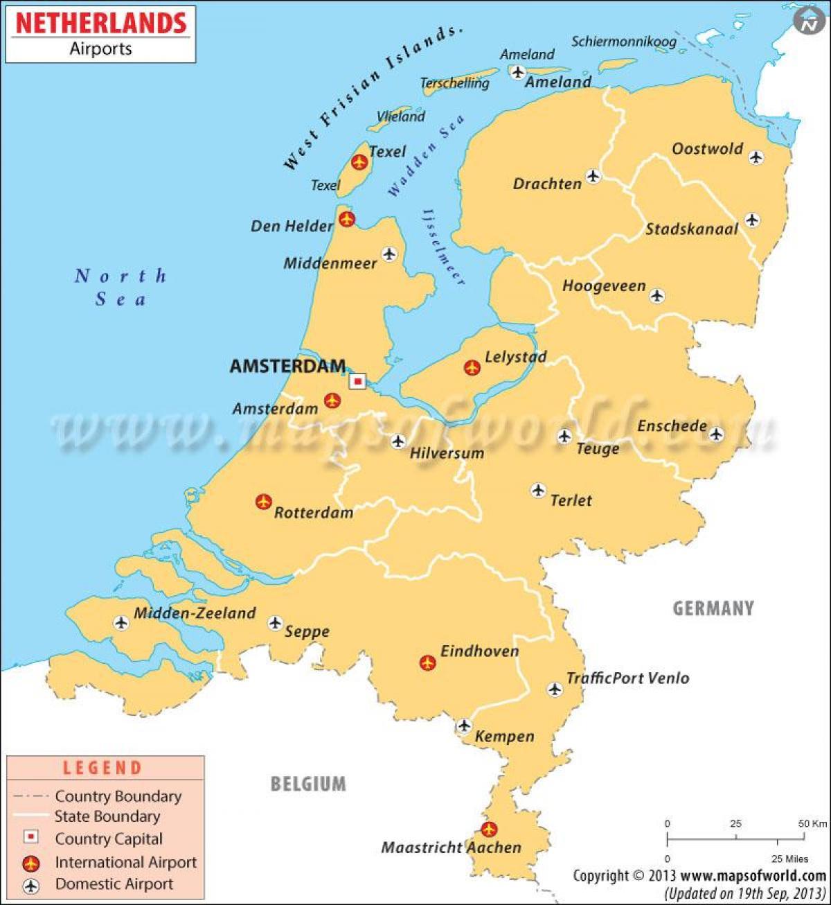 Aeroporturi Olanda Harta Aeroporturi Din Olanda Hartă Europa De